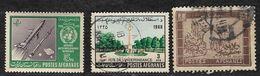 Afghanistan Stamps 1963 Rockets In Space 5af, 1966 Independence Memorial 3af, 1963 Balkh Gate 3af - Afghanistan
