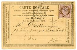 SEINE De MONTMARTRE GC 2488 Sur N°54 Sur CP Du 16/06/1875 - 1849-1876: Classic Period