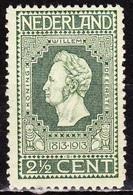 1913 Jubileumzegels 2½  Cent Groen NVPH 90 A Postfris - Periode 1891-1948 (Wilhelmina)