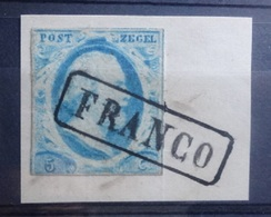 NEDERLAND   1852   Nr. 1  Op Fragment    Gestempeld  'FRANCO'   CW  50,00 - Period 1852-1890 (Willem III)