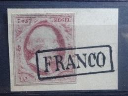 NEDERLAND   1852   Nr. 2  Op Fragment    Gestempeld  'FRANCO'   CW  35,00 - Period 1852-1890 (Willem III)