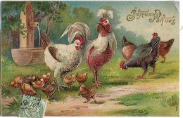CPA FANTAISIE JOYEUSES PAQUES / POULES ET POUSSINS - Easter