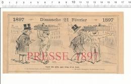 2 Scans Humour De 1897 Rue Aux Ours ( Paris ) Petits Métiers Porteur Panier Osier Commissionnaire 216PF10ZA - Documentos Antiguos