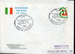 31036 Italia, Stationery Aerogramme With Special Postmark Genova 1997 Helicopter Flight To Riva Trigoso - Helicopters