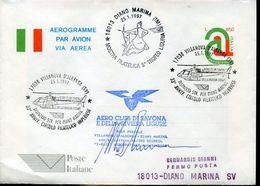 31038 Italia, Stationery Aerogramme With Special Postmark Villanova 1997 Helicopter Flight To Diano Marina - Helicopters