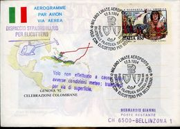 31039 Italia, Stationery Aerogramme With Special Postmark Milano Linate 1994 Helicopter Flight To Bellinzona Switzerland - Helicopters
