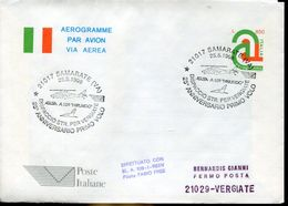 31041 Italia, Stationery Aerogramme With Special Postmark Samarate 1996 Helicopter Flight To Vergiate - Helicopters