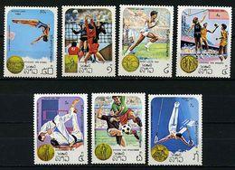 Laos ** N° 532 à 538 - J.O. De Los Angeles : Plongeon, Volley, Course, Basket, Judo, Foot Gym. - - Laos