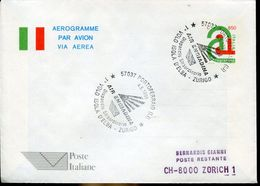 31044 Italia, Aerogramme With Special Postmark  Portoferraio 1996 Air Engiadina First Flight Isola D'elba Zurich - Airplanes