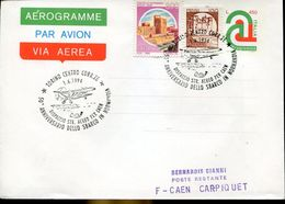31045 Italia, Aerogramme With Special Postmark Torino 1994 50th Anniversary Landing Normandy, Flight To Caen France - Airplanes