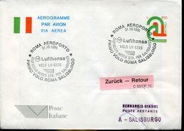 31046 Italia, Aerogramme With Special Postmark Roma 1996 1st Flight Lufthansa Roma Salzburg Austria - Airplanes