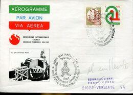 31047 Italia, Aerogramme With Special Postmark Mattarello Trento Flight Tour Of Italy To Vergiate - Airplanes