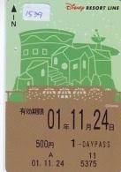 Carte Prépayée Japon  (1766)  DISNEY * RESORT LINE * TRAIN * 500 YEN * 1 DAY PASS*   JAPAN PREPAID CARD - Disney
