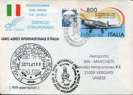 31051 Italia, Aerogramme With Special Postmark Milano Linate 1994 Special Flight Milan To Lodrino Switzerland - Airplanes