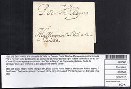 CORREO REAL. ROYAL MAIL. 1665. MADRID AL MARQUÉS DE VALLE DE CERRATO. CARTA REAL DE MARIANA DE AUSTRIA. VERY RARE. - ...-1850 Prefilatelia