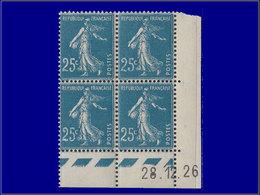 Qualité: XX – 140, Bloc De 4, Cd 28/12/26, Variété Chiffres Maigres Et Colorés: 25c. Semeuse . - France