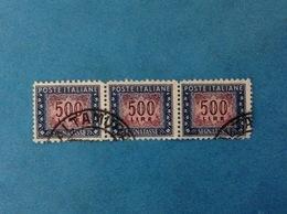 ITALIA FRANCOBOLLI USATI STAMPS USED STRISCIA DA 3 VALORI - SEGNATASSE 500 LIRE FIL RUOTA ANNULLO ALTAMURA - 1946-.. Republiek