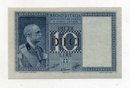 """Italia - Biglietto Di Stato Da Lire 10 """"Impero - Dittatura Fascista -  SUP++/FDS - Decreto 1939 XVIII - (FDC8453) - [ 1] …-1946 : Kingdom"""