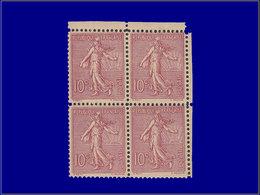Qualité: XX – 129, Faux Schnebelin, Très Rare En Bloc De 4: 10c. Semeuse Lignée Rose. Cote: 2400 - France