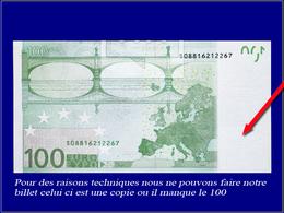 Qualité: N – 100 € Vert, 2002, Série U29022347417, Sans Impression Du Violet Sur Une Face, Manque La Faciale En Bas à Dr - France