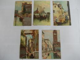 Lot De 5 Cartes Illustratrion De Venezia - Postcards