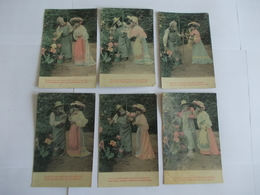 Lot De 6 Cartes D'une Même Série Fleur Et Jardin - Postcards