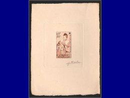 Qualité: EPA – Pa. 34, épreuve D'artiste En Brun, Signée: Croix Rouge, Mère Allaitant . - Laos