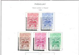 Paraguay PO+PA 1969 Uniti Nella Pace  Scott.1153/1157+ Nuovi See Scans On Scott.Pages - Paraguay