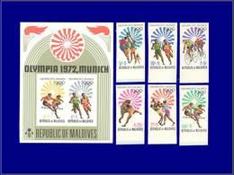 Qualité: XX – Michel 417/22 B + Bf 14 B, Non Dentelés: Jeux Olympiques De Munich 72 . - Maldives (1965-...)