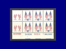Qualité: XX – 1009, Bloc De 8, Bdf Numéroté, 2 Timbres De 1 ° Rangée Sans La Couleur Bleue (Faciale Et Drapeau) Superbe: - United States