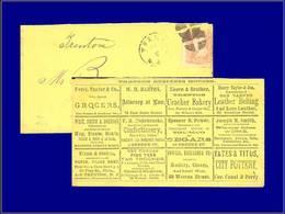 Qualité: O – (1870), Enveloppe Adhésif 3c. Brun, (Trenton), Publicités Multiples Au Dos: Epicerie, Avocat, Cuir, Biscuit - United States