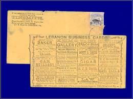 Qualité: O – (1870), Enveloppe Adhésif 3c. Bleu Train, Publicités Au Dos (Lebanon): Patisserie, Charbon, Chevaux Cuir, A - United States