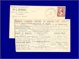 Qualité: O – (1884), Enveloppe Adhésif 2c. Brun (oregon City), Publicités Au Dos: Bijoux, Tabac, Textile, Chevaux, Pharm - United States