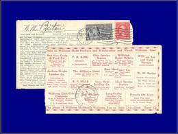 Qualité: O – (1927), Enveloppe Adhésif 2c+ 10c. (Williston Florida), Publicités Au Dos: Pétrole, Grain, Patisserie, Coca - United States