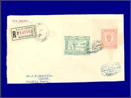 Qualité:  – 9 + Poste 305, Les 2 Timbres Non Dentelés En Haut, Bdf, Sur Devant D'enveloppe Rec. 2/9/25: Rincon . - Uruguay