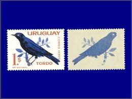 Qualité: XX – 236 A, Impression Du Bleu Sur La Gomme: (1p) Oiseau Tordo . - Uruguay