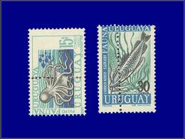Qualité: XX – 336 + 339, Double Perforation Verticale: Pieuvre Et Poisson . - Uruguay