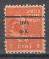 USA Precancel Vorausentwertung Preo, Bureau Ohio, Lima 803-71 - Precancels