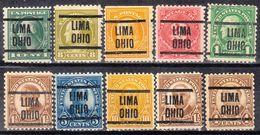 USA Precancel Vorausentwertung Preo, Locals Ohio, Lima 204, 10 Diff. Perf. 4 X 11x11, 5 X 11x10 1/2 - Precancels