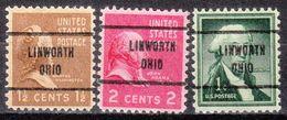 USA Precancel Vorausentwertung Preo, Locals Ohio, Linworth 713, 3 Diff. - Precancels