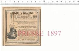 Publicité Presse 1897 Eclairage Beck Lampe Au Pétrole Eclair Lampisterie Au Verso Ergotine Bonjean 216PF10ZA - Unclassified