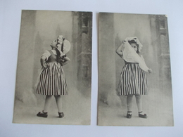 Lot De 2 Cartes D'une Même Série Petite Fille En Jupe à Rayure - Postcards