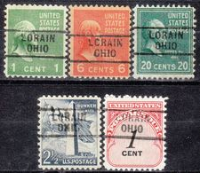 USA Precancel Vorausentwertung Preo, Locals Ohio, Lorain 704, 5 Diff. - Precancels