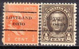 USA Precancel Vorausentwertung Preo, Locals Ohio, Loveland L-1 TS, 2 Diff. Perf. 11x10 1/2 - Precancels