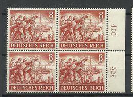 Deutsches Reich 1943 Michel 835 Tag Der Wehrmacht Als 4-Block MNH - Unused Stamps