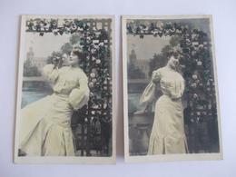 Lot De 2 Cartes D'une Même Série Femme En Robe Jaune - Postcards