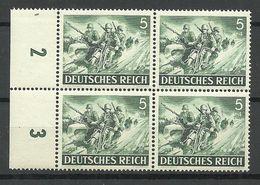 Deutsches Reich 1943 Michel 833 Tag Der Wehrmacht Als 4-Block MNH - Unused Stamps