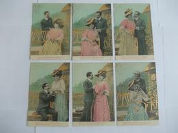 Lot De 6 Cartes D'une Même Série Couple Sur Dorures - Postcards