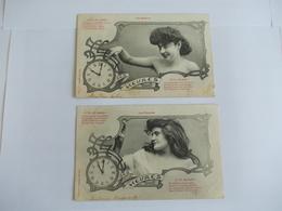 Lot De 2 Cartes D'une Même Série Les Heures Edition Bergeret Nancy - Postcards