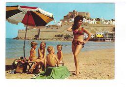 Espagne Peniscola Vista Parcial Playa Plage Femme Maillot De Bain Pinup Pin Up - Castellón